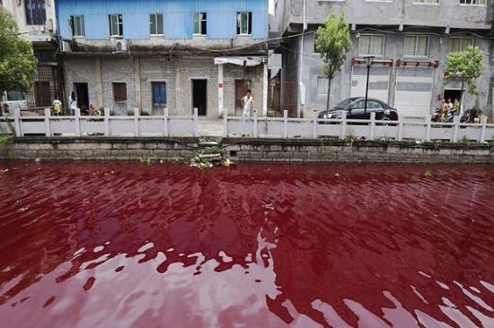 Air sungai di china mirip darah dalam hitungan menit udu